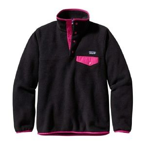 Patagonia Synchilla Black & Pink Snap Pullover